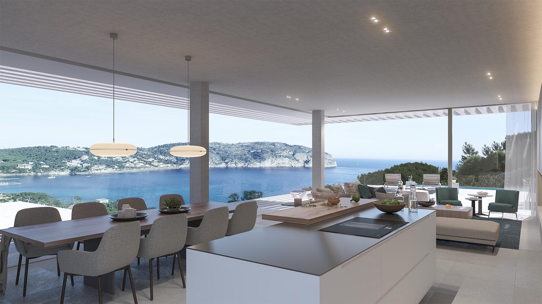 Terraza Balear Decoración Interior 3d Proyecto Villa Statera
